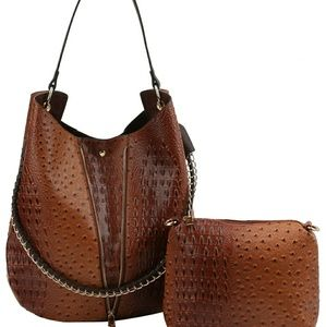 Ostrich & Alligator Hobo & Crossbody Set
